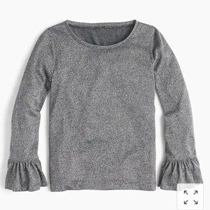 J. CREW Sparkle Bell Sleeve Top Silver